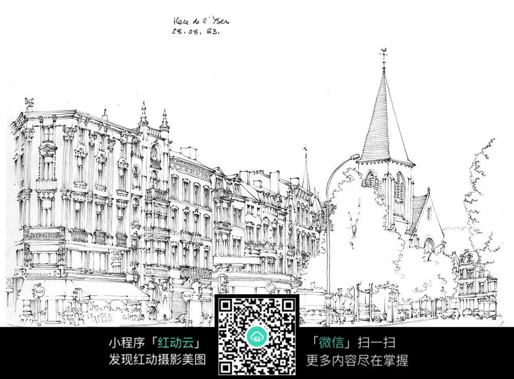欧式精美建筑街景手绘线描图