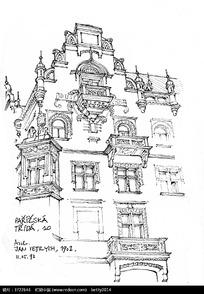 欧式精美建筑手绘线描图