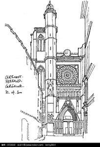 欧式精美钟楼建筑手绘线描图