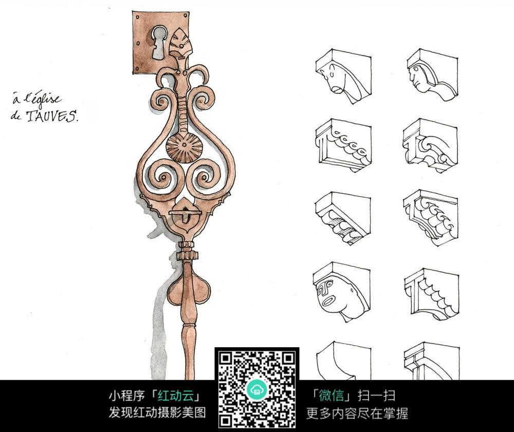 欧式扣手立柱细部结构手绘线描图