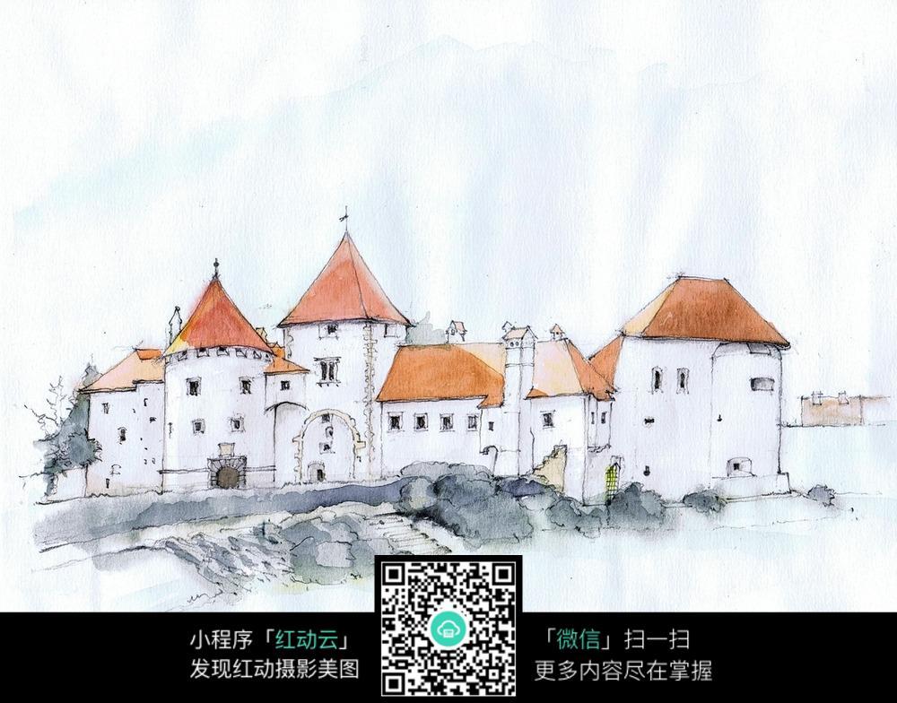 欧式临河建筑手绘水彩线描图