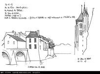 欧式临河建筑手绘线描图