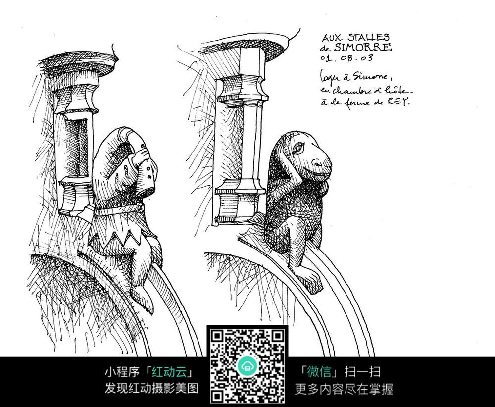 欧式立柱手绘线描图