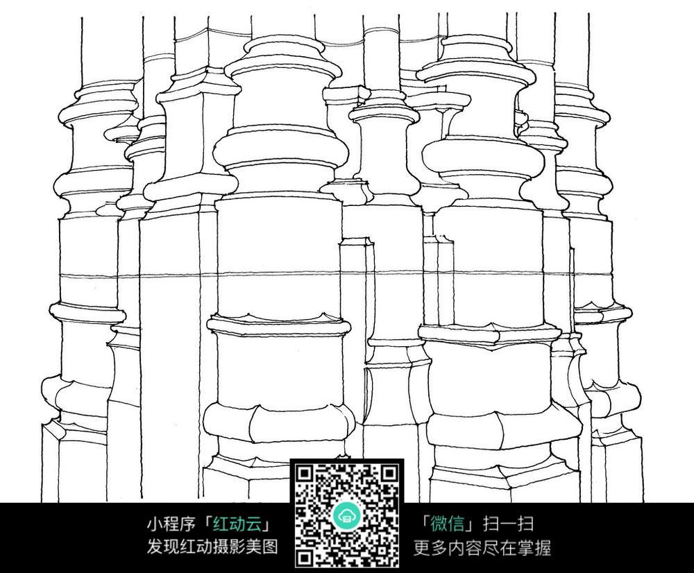 欧式罗马柱手绘线描图_建筑设计图片