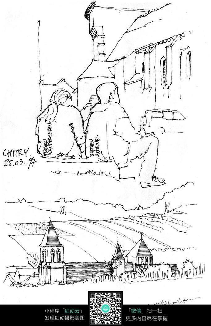 欧式人物建筑简笔手绘线描图