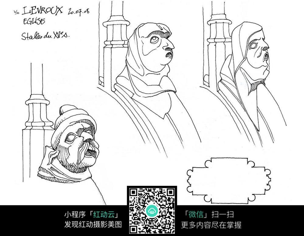 欧式人物头像柱子手绘线描图