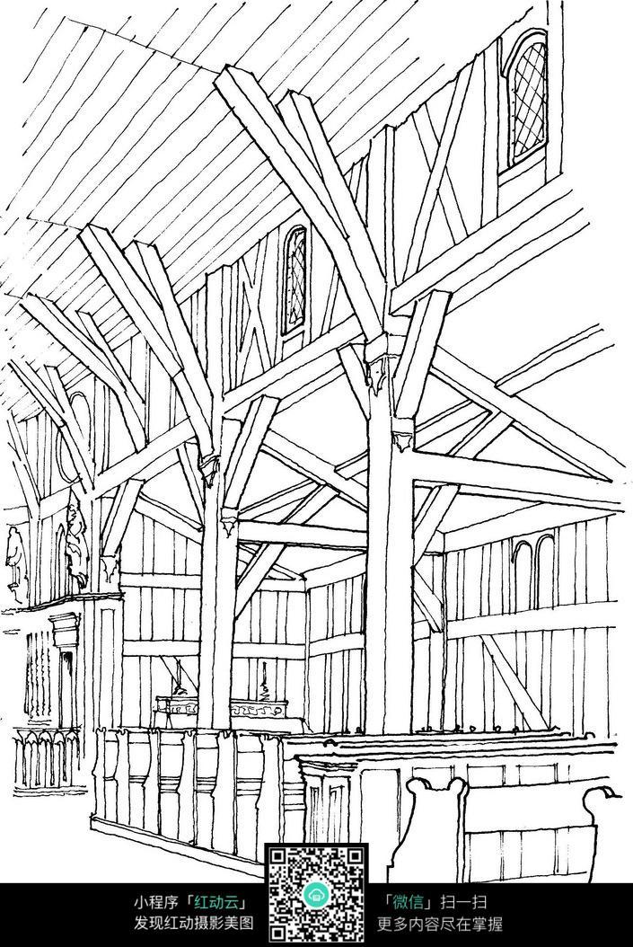 欧式室内建筑结构手绘线描图