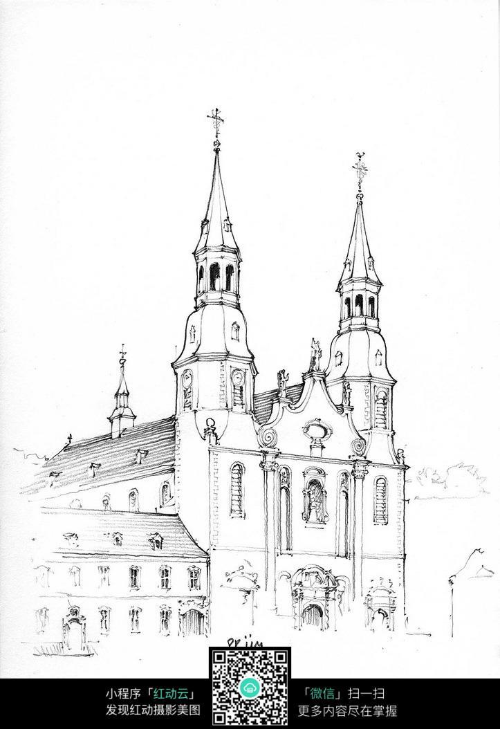 欧式双塔建筑街景手绘线描图