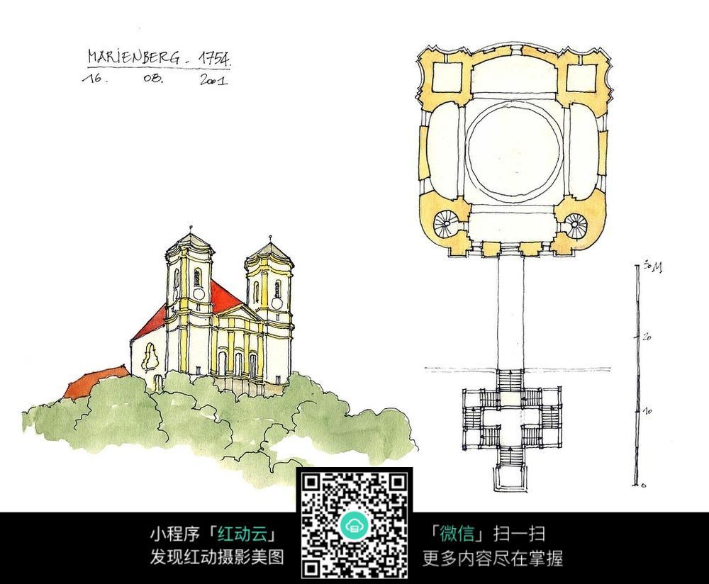 欧式双塔建筑平面手绘线描图