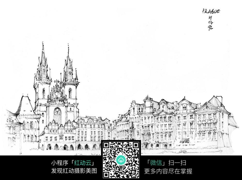欧式双塔楼手绘线描画