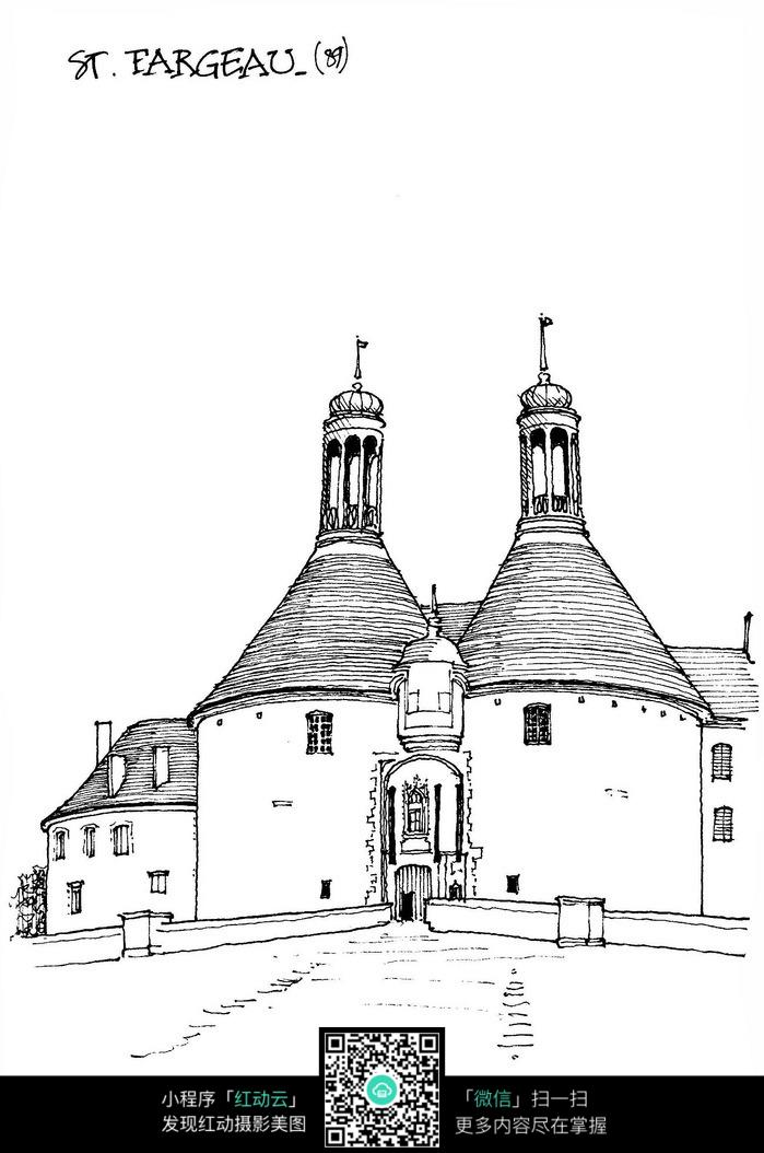 欧式双塔楼手绘线描图