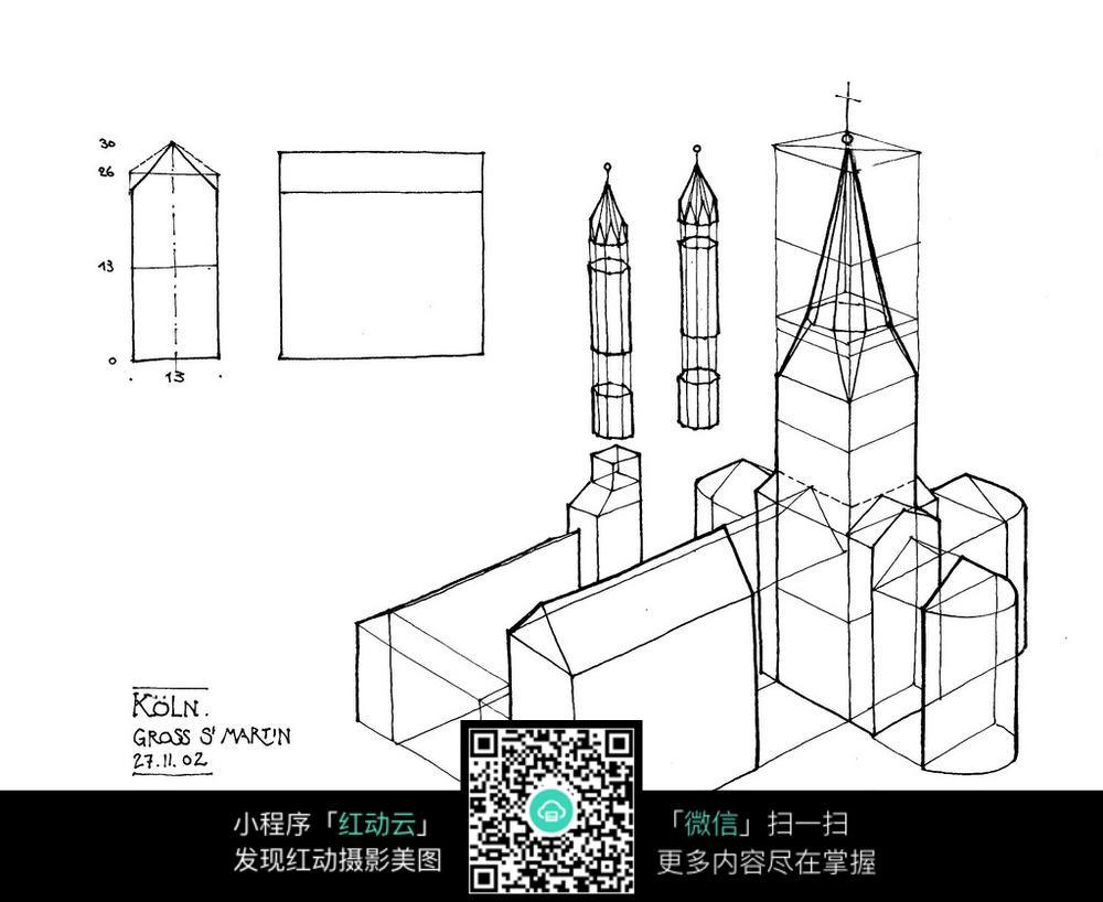 欧式塔楼模型手绘线描图