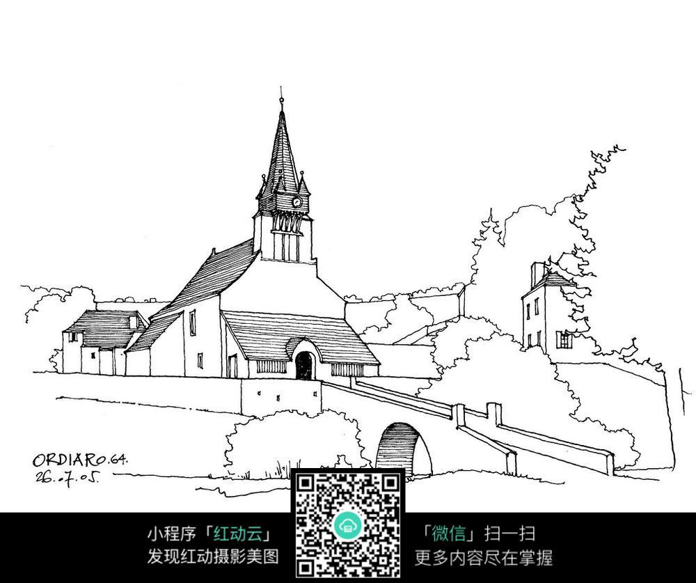欧式乡村尖顶建筑景观手绘线描图