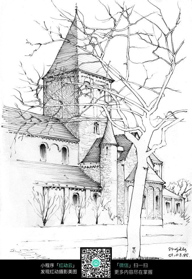 欧式乡村建筑街景手绘线描图