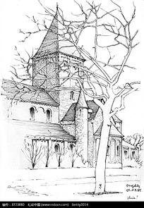 欧式乡村建筑街景手绘线描图图片