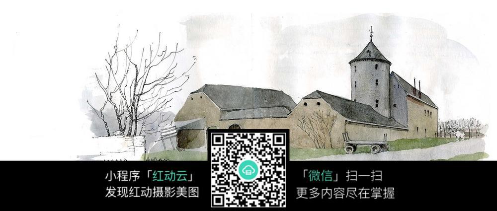欧式乡村建筑景观水彩手绘线描图