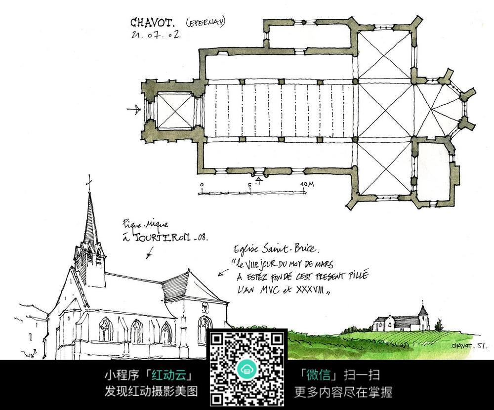 欧式乡村建筑平面图手绘线描图_建筑设计图片