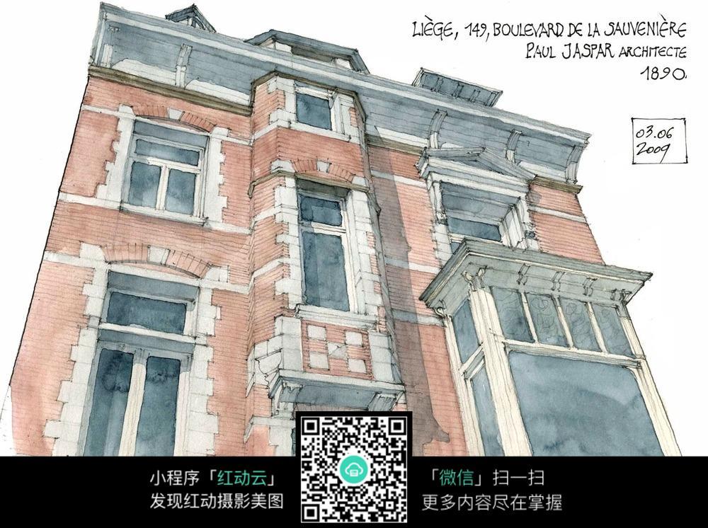 欧式小区建筑街景手绘水彩线描画图片免费下载 编号3720646 红动网图片