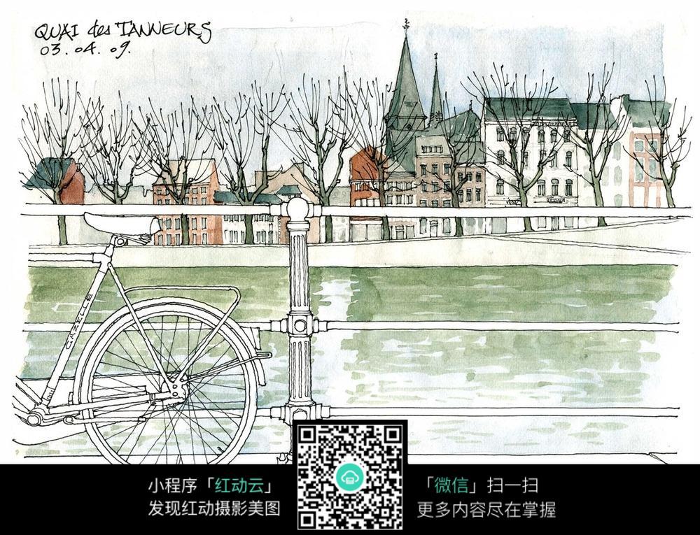 欧式小区建筑景观手绘水彩线描图图片