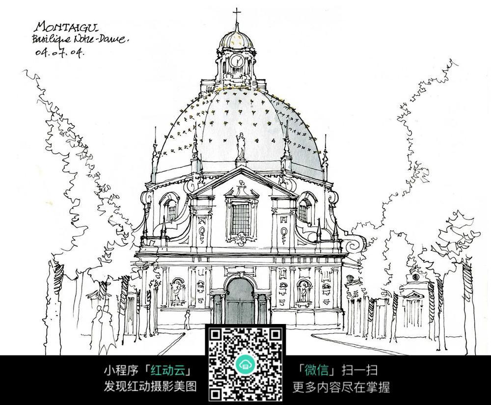 欧式穹形建筑景观手绘线描图