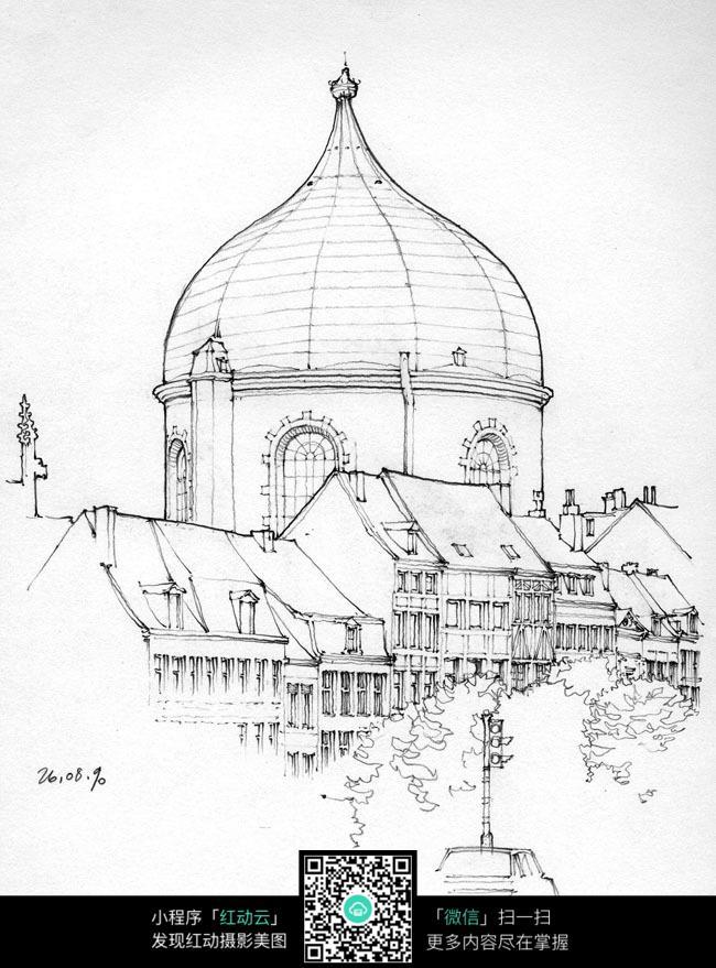 欧式圆顶建筑街景手绘线描图