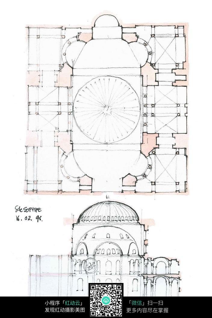 欧式圆顶建筑平面图手绘线描图图片