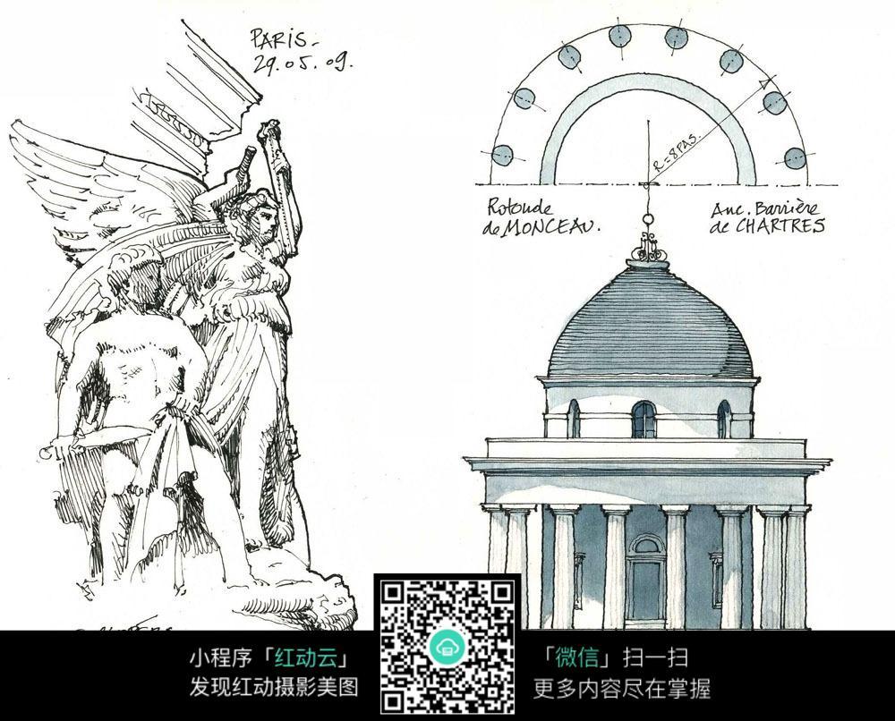 欧式圆顶建筑人物雕塑手绘水彩线描图