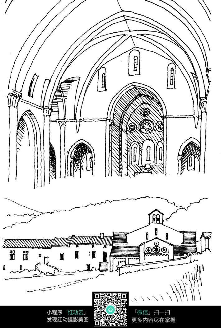欧式圆顶建筑手绘