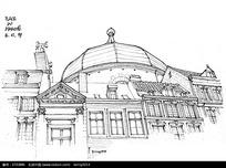 欧式圆顶建筑手绘线描图