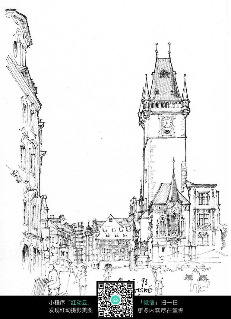 欧式钟楼建筑街景手绘线描图