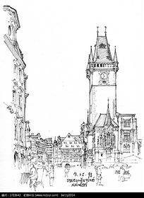 欧式钟楼建筑手绘线描图 欧式钟楼建筑简笔线描图 欧式钟楼建筑钢笔