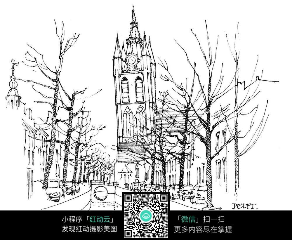 欧式钟塔楼河道景观手绘线描图