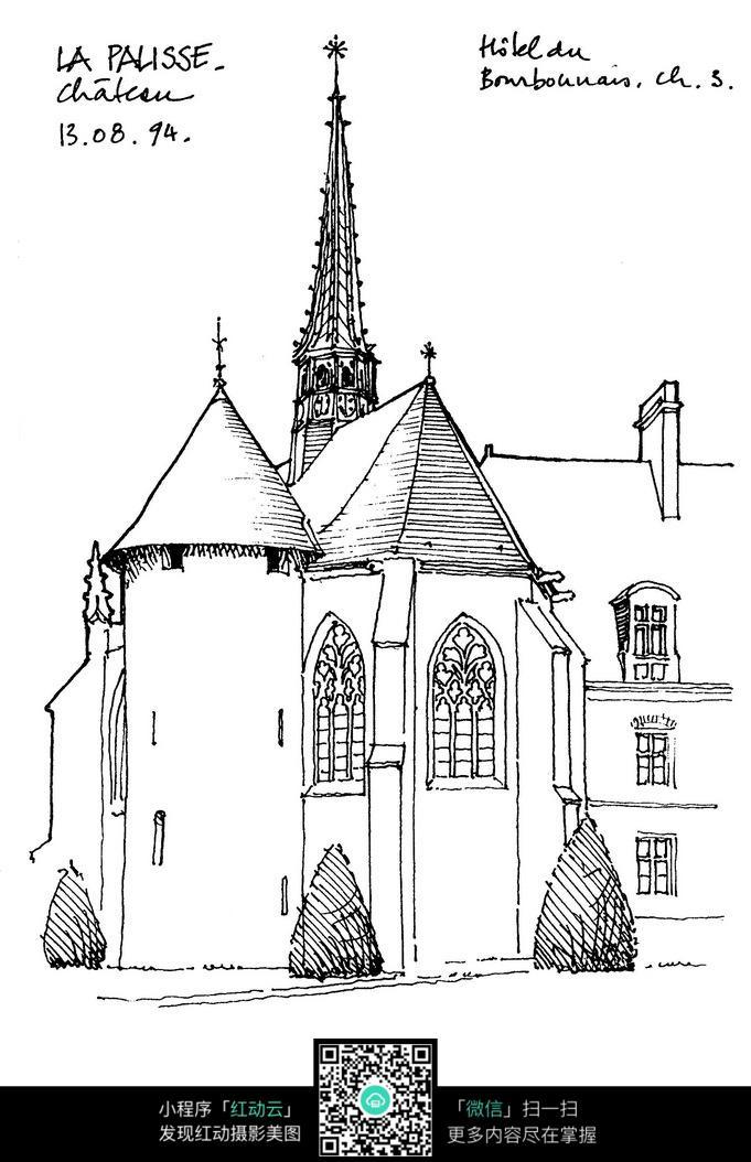 欧式钟塔楼手绘线描图