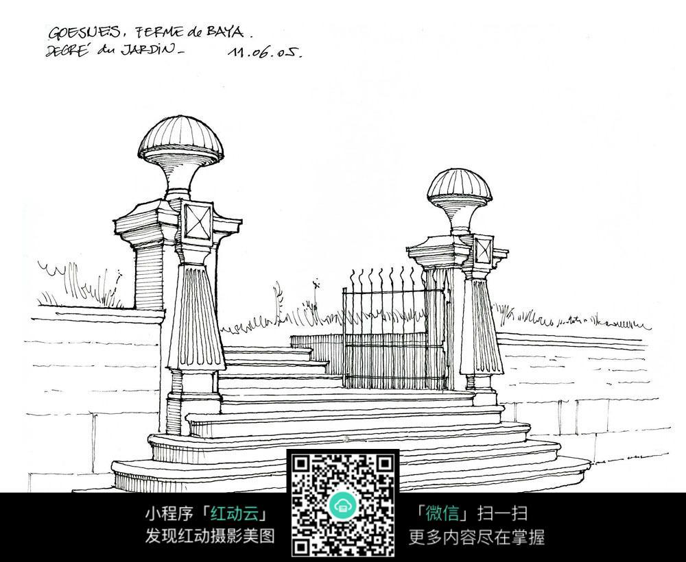 欧式柱大门手绘线描图