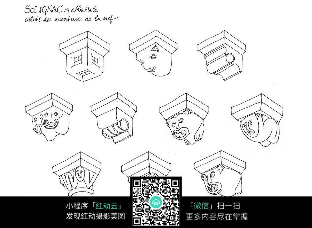 欧式柱子结构手绘线描图