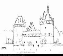 欧洲城堡手绘建筑线描