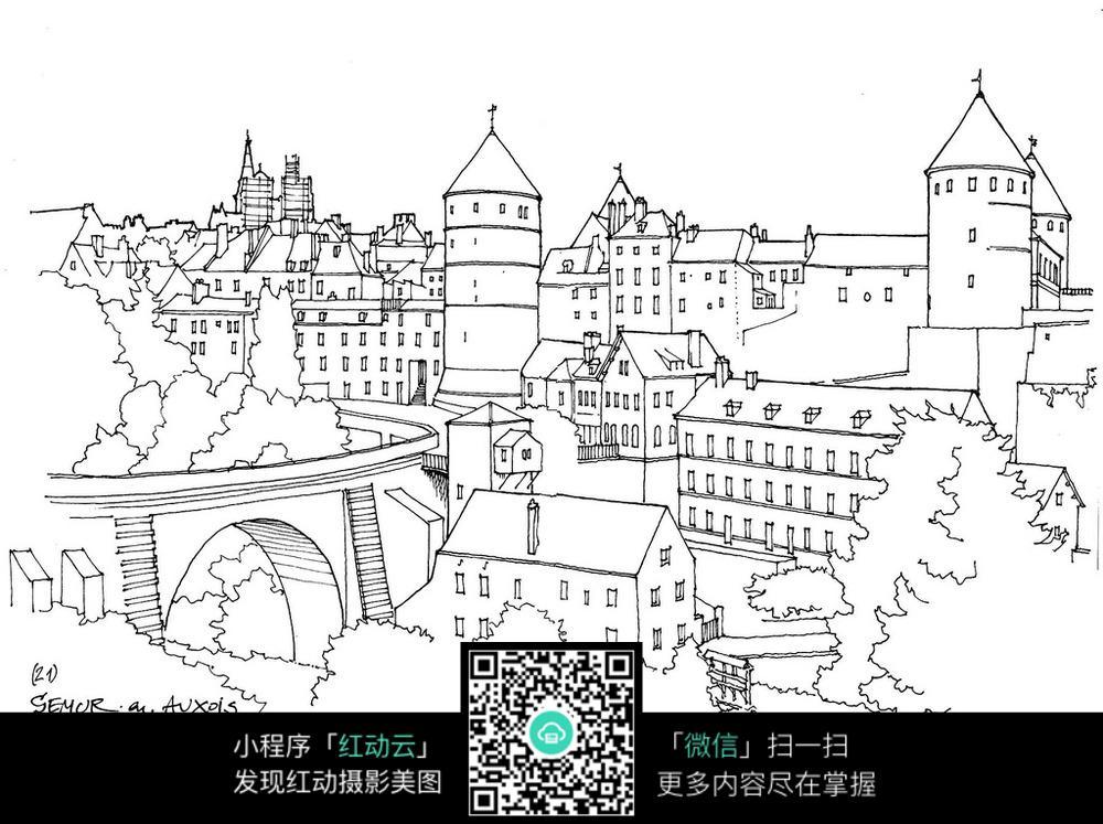欧洲城市建筑简笔手绘线描图图片