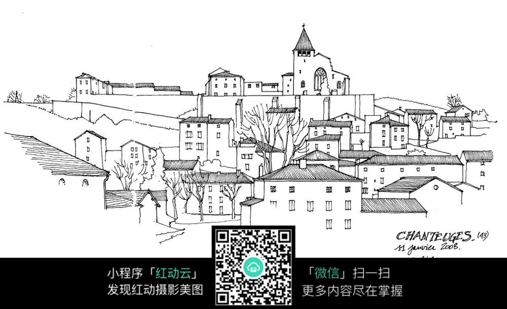 欧洲城市景观手绘线描图_建筑设计图片