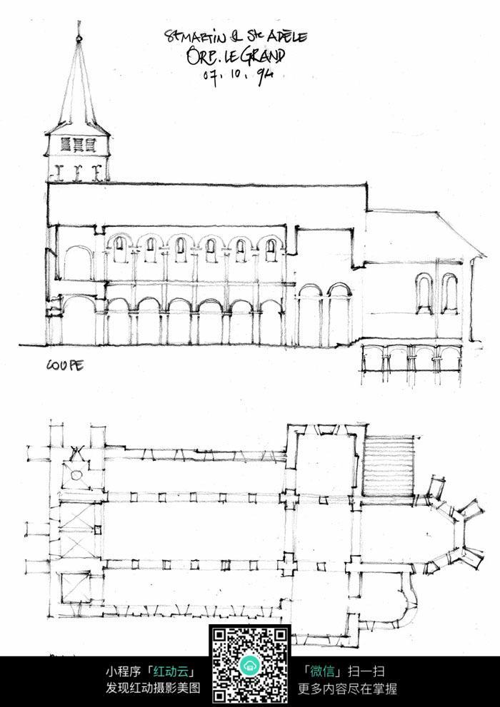 欧洲建筑手绘平面图俯瞰图