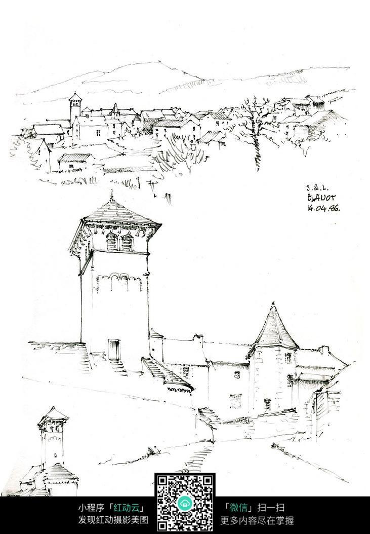 欧洲乡村建筑简笔线描图