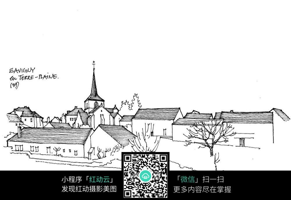 欧洲乡村建筑手绘线描图