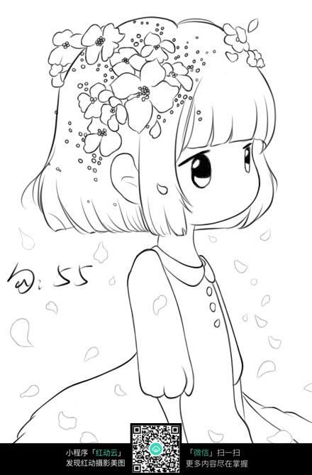 飘落花瓣下的女孩