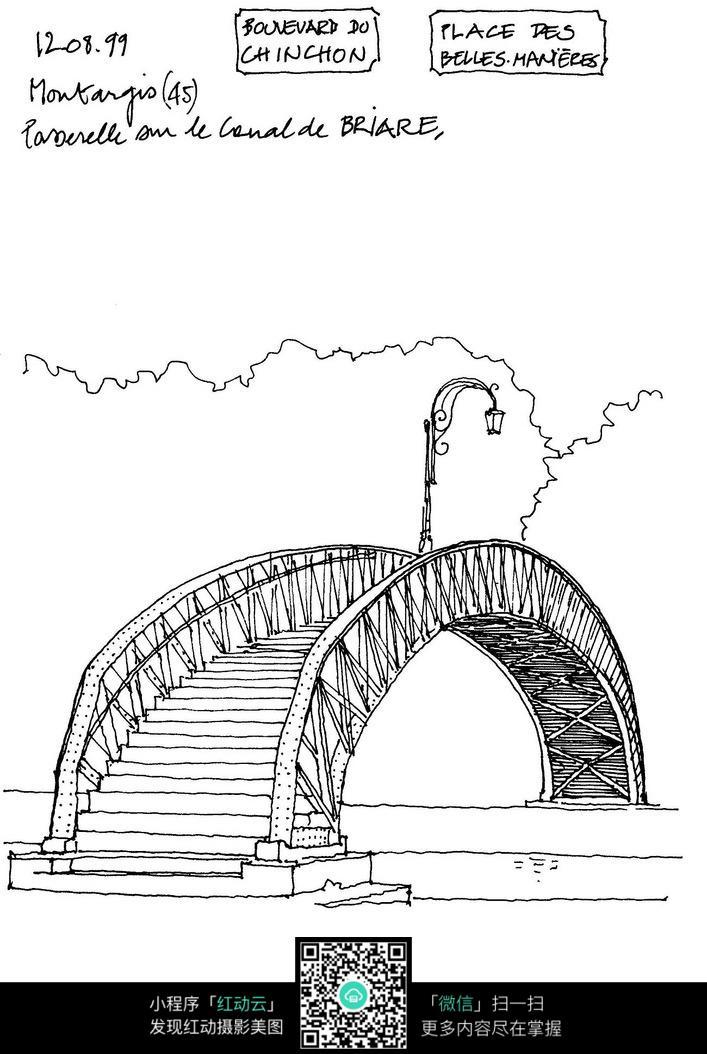 桥梁手绘线描图