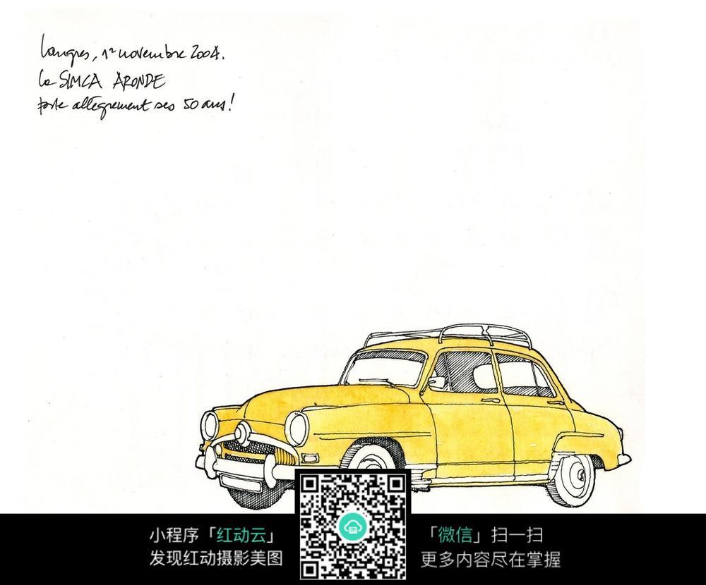 汽车水彩手绘线描图