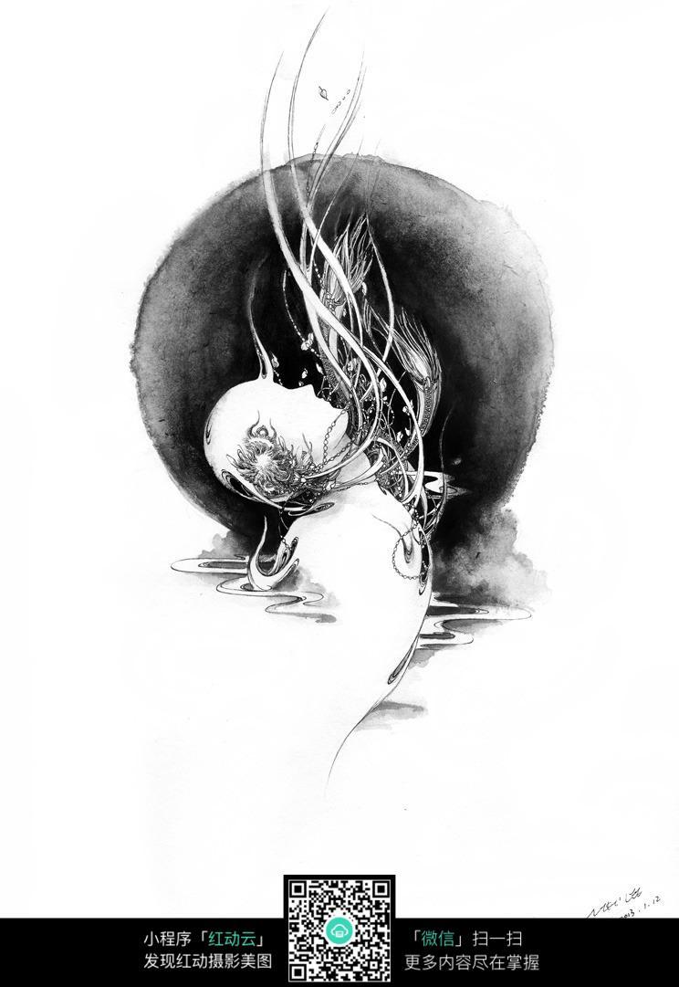 人物创意黑白素描画图片