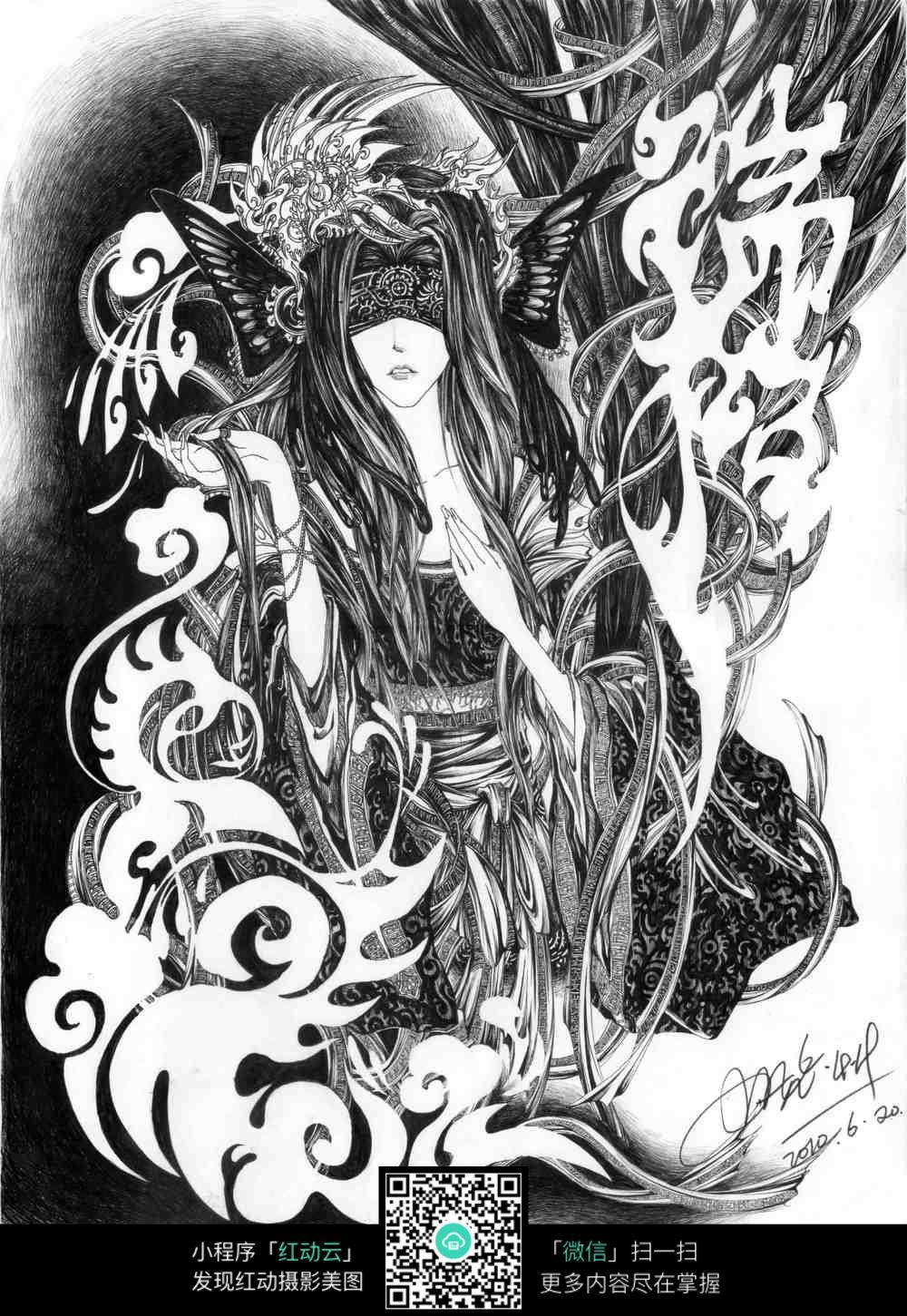 人物精美钢笔画_人物卡通图片