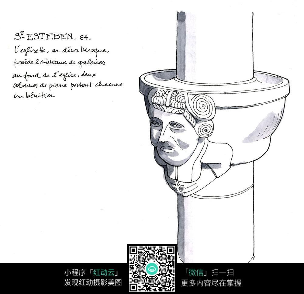 人物柱子手绘线描图图片