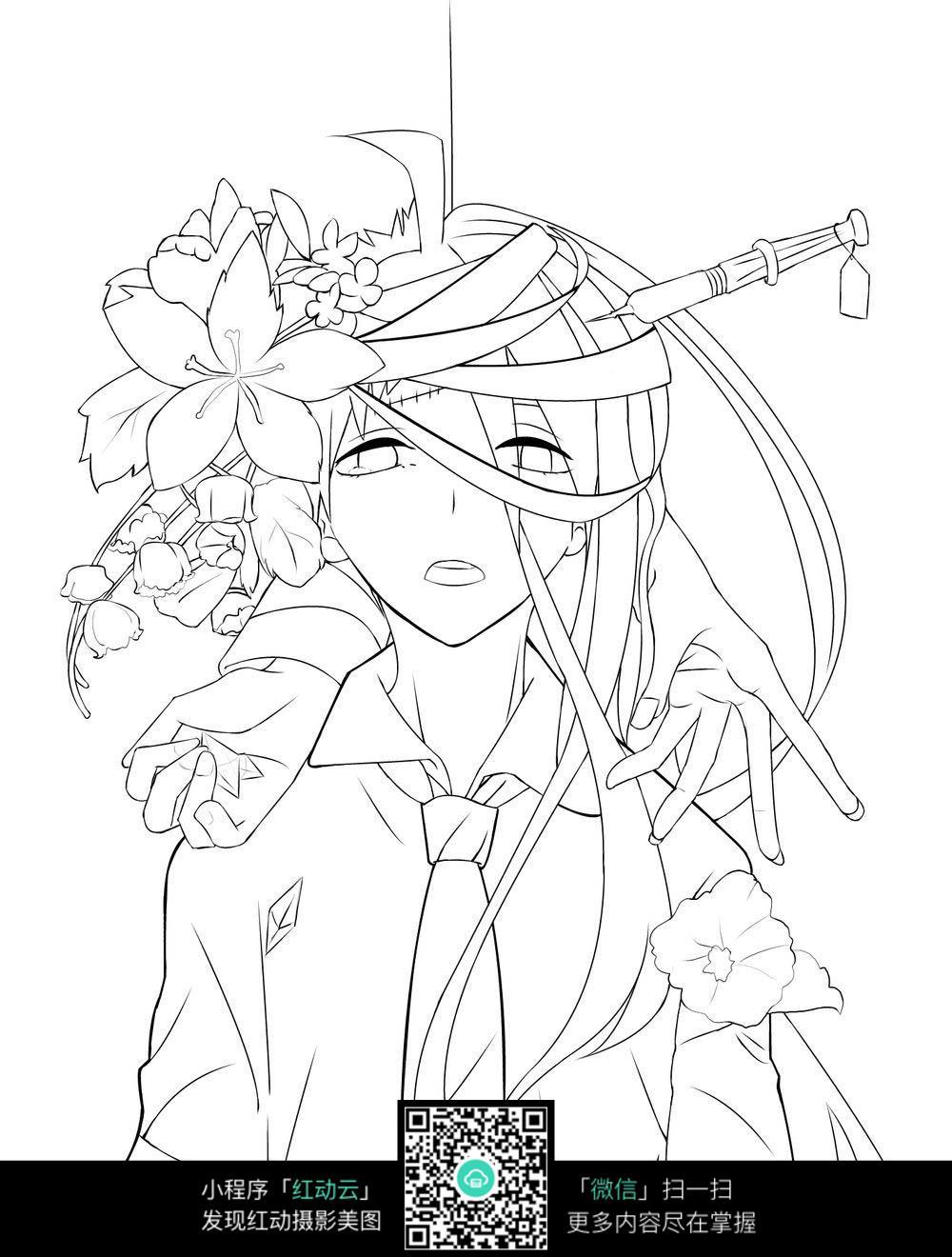 日本动漫女孩线描