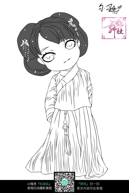 日本妇女线描_人物卡通图片