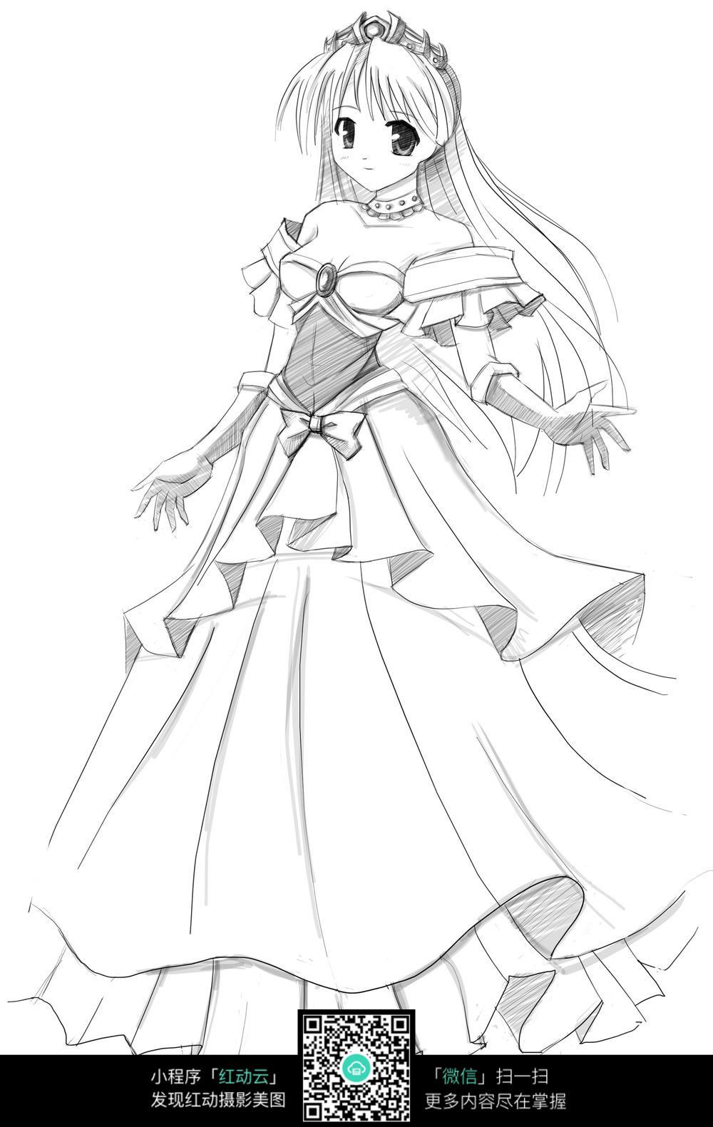免费素材 图片素材 漫画插画 人物卡通 日本公主女孩线描  请您分享